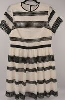 MICHAEL KORS Women's Lace Striped Dress, Cream & Black, size UK 14 16
