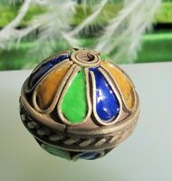 Chinese Cobalt blue gold and green enamel silver tone ornate one bead       ec