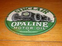 "VINTAGE SINCLAIR OPALINE MOTOR OIL W/ CAR 11 3/4"" PORCELAIN METAL GASOLINE SIGN!"