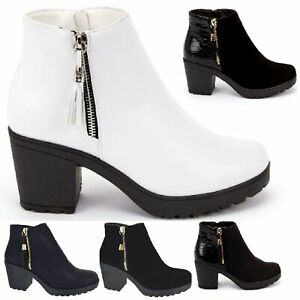 LADIES EVERYDAY CASUAL WORK CHELSEA MID BLOCK HEEL WOMENS BOOTS SHOES SIZE 3-8
