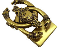 BRAND NEW WOLF BRASS LUXURY RATCHET BUCKLE FOR 35 MM BELTS AUTOMATIC BELT BUCKLE