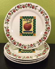 (4) Chef's Classics Dinner Pasta Plates Apple & Seed Design Vintage collector