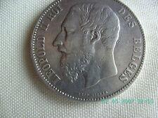 LEOPOLD II -5 FRANCS - ROI DES BELGES - 1868 SILVER***