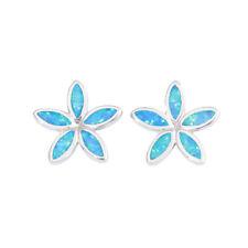 Blue & White Fire Opal Silver Fashion Women Jewelry Flower Earrings OH4591-92