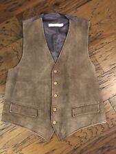 Vintage Brooks Brothers Mens Ultra Suede Brown Vest Waistcoat Size Large