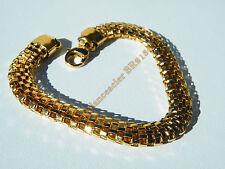 Bracelet 21 cm Doré Plaqué Or Pur Acier Inoxydable Serpentine Large 8 mm 3 D