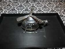 "Silverplate Silver Plate Helicopter Bank w Moving Props Baby Gift 3""x5""x 4"" Used"