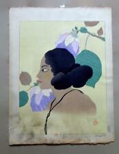 """Paul Jacoulet Fleurs Violettes Woodblock Print 14"""" x 16"""""""