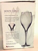(4) CLEAR Monte CARLO wine Glasses  11 oz seamless pulled stem Pasabahce IN BOX