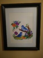 Original Water Color Painting in frame of Blue Birds & Flowers hobbyist signed