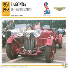 LAGONDA M45 RAPIDE LE MANS 1934-35 CAR Great Britain GRANDE BRETAGNE CARD FICHE