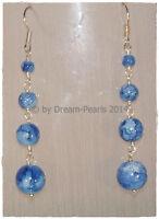 ♥ Dream-Pearls Design Ohrringe Glas marmoriert pink schwarz rot blau gelb ♥OH083