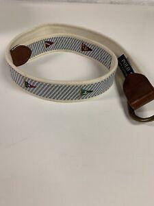 Polo Ralph Lauren Belt Blue White Seersucker Sailing Yacht Flag D-Ring Men Small