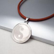Plata Cromo Ba Gua Tai Chi Yin Yang Símbolo Colgante Collar De Cuero Marrón 3mm