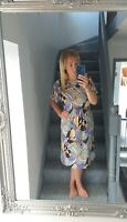CREATION ATELIER WOMENS VTG RETRO BRIGHT BOLD ABSTRACT LIGHT WEIGHT DRESS UK 14