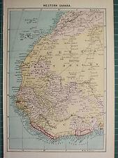c1890 ANTIQUE MAP ~ WESTERN SAHARA GREAT DESERT AFRICA ~ GUINEA CANARY ISLANDS