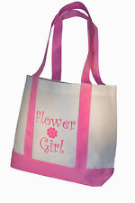 Yacanna Flower Girl Tote Bag White With Pink Straps Large 14-inch by 11-inch