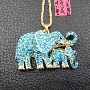 Blue Bling Rhinestone Cute Elephant Crystal Betsey Johnson Chain Necklace