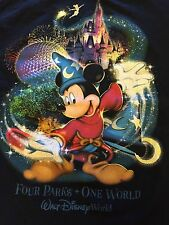 Walt Disney World- Four Parks, One World Sorcerer Mickey T-Shirt Size S