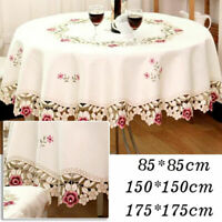 Rose Embroidered Tablecloth Lace Round Table Cover Wedding Party Dinner Decor