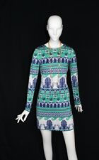 JB Julie Brown Green Blue White 60's Print Stretch Short GoGo LS Dress XS