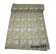Indian Handmade White Print kantha Quilt Vintage Kantha Throw Cotton Blanket Art