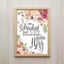 Bild Einem Guten Herz Spruch Kunstdruck A4 Blumen Shabby Chic Geschenk Deko