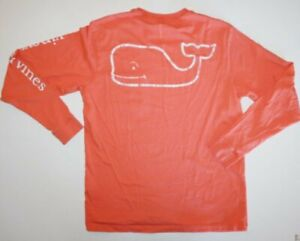 VINEYARD VINES Long sleeve junior womens t shirt in coral orange Size Small S