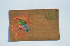 A LOVELY OLD RAJASTHAN MINIATURE PAINTED INDIAN POSTCARD OF KINGFISHER NO 177