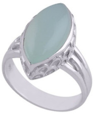 925 Sterling Silver 7.8gm Chalcedony Aqua Marquise Cabochon Solitaire Ring Sz 10