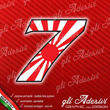 Adesivo Stickers NUMERO 7 moto auto cross gara JAPAN 5 cm