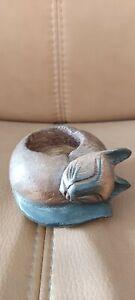 Wooden cat tealight holder