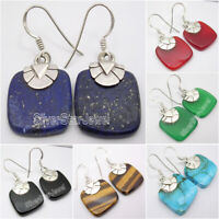 925 Sterling Silver Natural Gemstone DANGLE Earrings ! Engagement Jewelry NEW