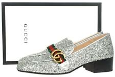 NEW GUCCI SILVER TONE GLITTER LEATHER GG WEB MARMONT LOAFER SHOES 38.5