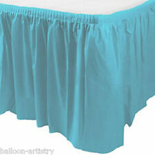 14ft Plastic CARIBBEAN BLUE Table Skirt wedding