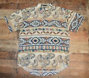VTG Chaps Ralph Lauren Mens L Paisley Shirt Colorful Vivid Aztec Tribal Large B7