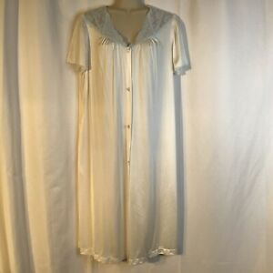 Vintage Vanity Fair White Blue Floral Lace Short Sleeve Robe Silky Large