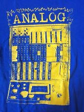 'Analog' Graphic T-Shirt, Blue, Unisex, Men's Medium, Moog, Tascam, Akai