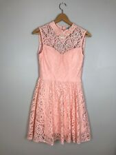 NWT Filly Flair Women's Dress High Pink Pearls Lace Party Low Back Size Medium
