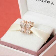 Genuine Rose Gold PANDORA Cubic Zircona SPARKLING BUTTERFLY Charm ALER