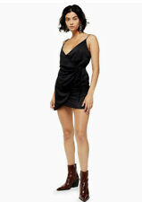Topshop Satin Wrap Mini Slip Dress - Black Size 12 New