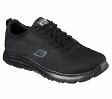 Skechers Work Wide Black shoes 77125 W Fit Men Slip Resistant Memory Foam Safety