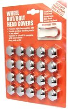 Hexagon Wheel Nuts Covers Pack of 20 - ABS Plastic (19mm Chrome) Quality Finish