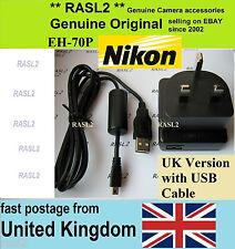 ORIGINALE Nikon EH-70P CARICABATTERIE + CAVO USB COOLPIX S5200 S6500 S6600 S6700 S9400