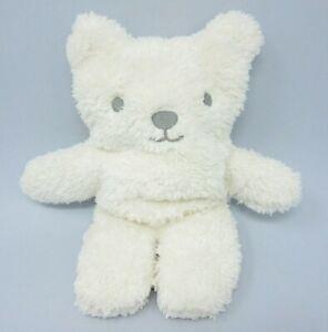 "Marks Spencer flat white fluffy teddy bear baby comforter soft toy cream 11"" M&S"