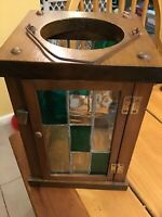Large Vintage Handmade Stained Glass Candle Holder