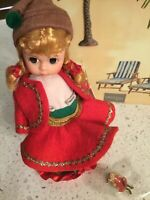 "Madame Alexander Shea C.United CHRISTMAS ELF Wendy 8"" doll WITH PIN~& STAND"