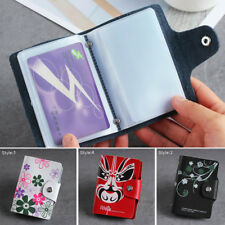 Women Leather Print Business Card Holder ID Card Credit Holder Protector Wallet