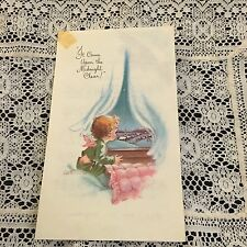 Vintage Greeting Card Christmas Angel Eve Rockwell Window Pink Pillow
