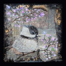Bird / Original Painting by Xenia Hahonina / 29.8cm x 29.8cm / Pink Blossom